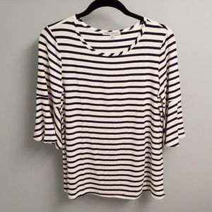 Green Envelopes Striped Short Bell Sleeve Top in M